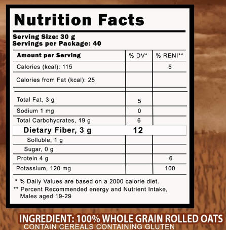 Australian Harvest Rolled Oats Nutrition Facts