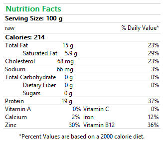 Beef Burger Nutrition Facts
