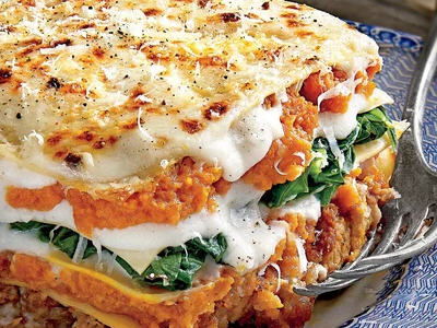 Pumpkin Spinach and Brie Lasagna Recipe