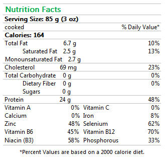 CAB Tenderloin Medallion Nutrition Facts