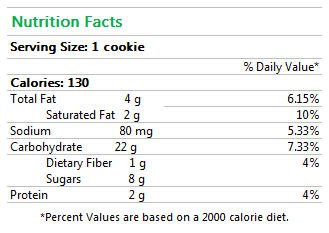 Gluten-Free Chocolate Chip Cookies Nutrition Facts
