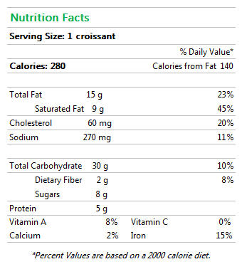 chocolate croissant nutrition facts