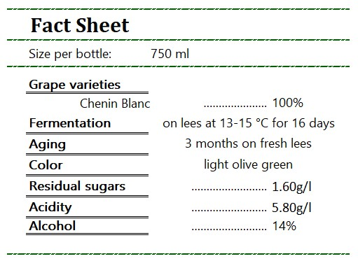Durbanville Hills Chenin Blanc Fact Sheet