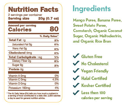 Fruit Crisps Mango Sweet Potato Banana Nutrition Facts