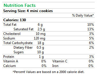 GF Chocolate Chip Cookies Mini Nutrition Facts