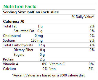 Green Olive Ciabatta Nutrition Facts
