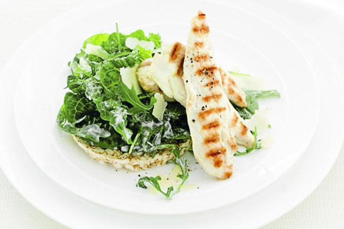 Grilled chicken with Caesar greens on Quinoa & Jasmine rice Blend Recipe