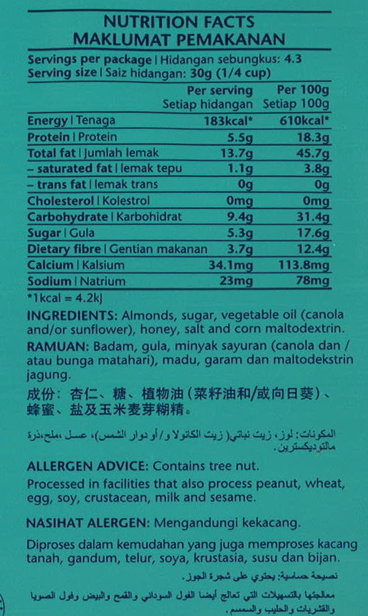 Honey-Roasted Almonds Nutrition Facts