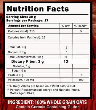 Australian Harvest Instant Oats Nutrition Facts
