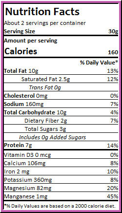 Kale Chips Vegan Cheeze Nutrition Facts