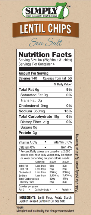 Lentil Chips Sea Salt Nutrition Facts