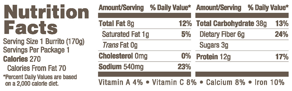 Amy's Organic Breakfast Burrito Nutrition Facts
