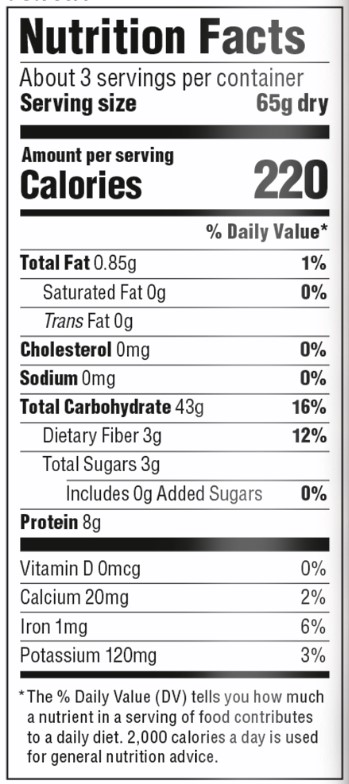 Organic Cha Soba  Nutrition Facts