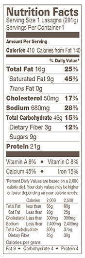 Cheese Lasagna Nutrition Facts