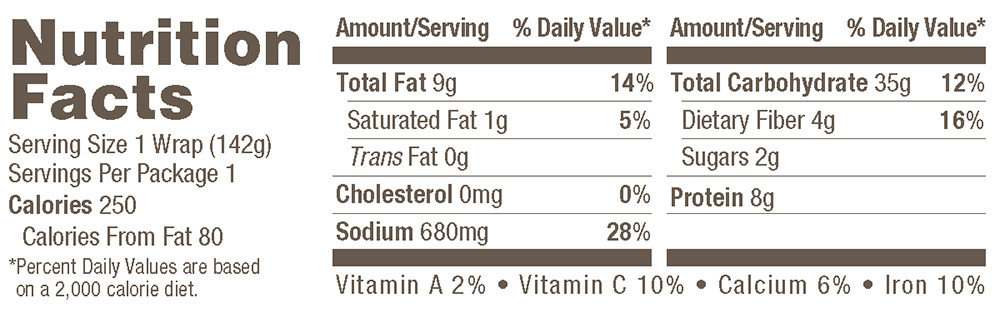 Amy's Organic Indian Samosa Wrap Nutrition Facts