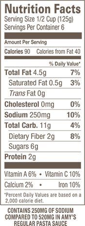 Low Sodium Organic Tomato Basil Pasta Sauce Nutrition Facts