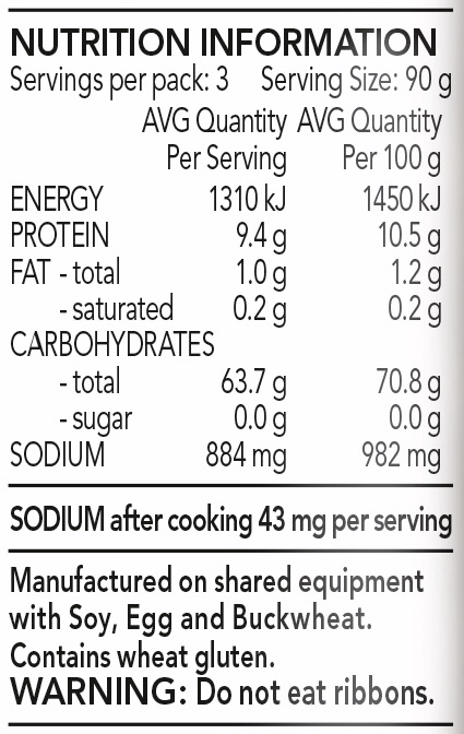 Organic Ramen Nutrition Facts