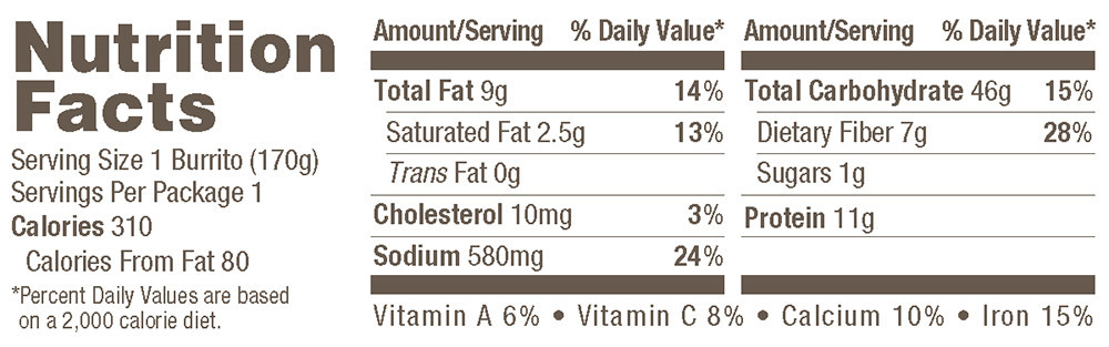 Organic Bean Rice Cheese Burrito Nutrition Facts
