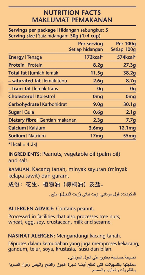 Lightly-salted Roasted Peanuts Nutrition Facts