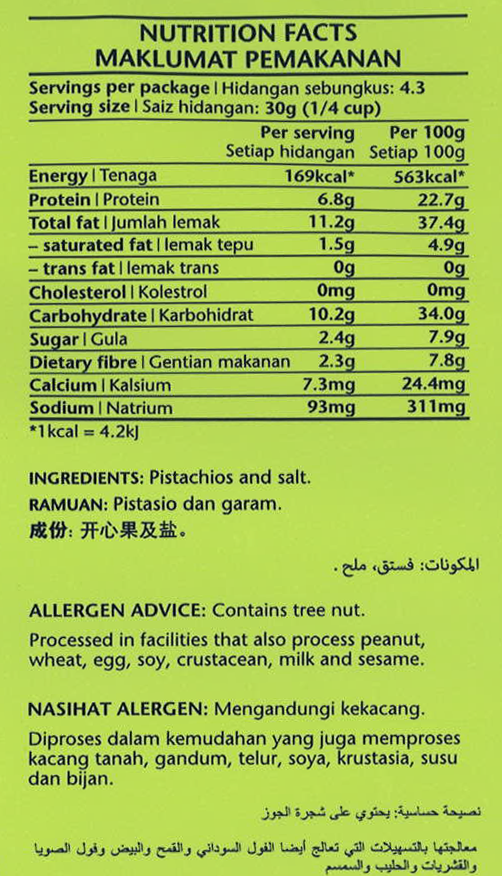 Salted Pistachios Nutrition Facts