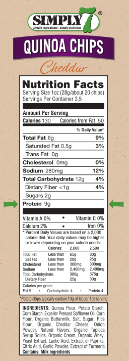 Quinoa Chips Cheddar Nutrition Facts