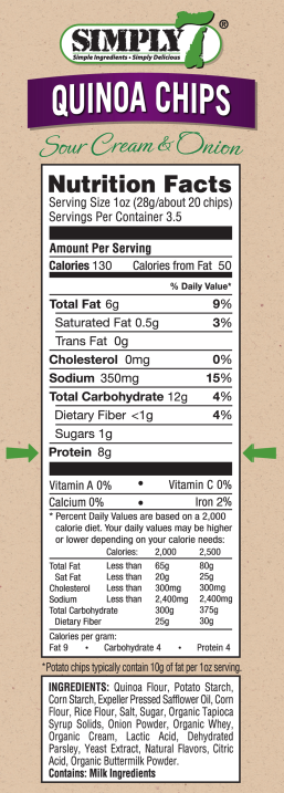 Quinoa Chips Sour Cream & Onion Nutrition Facts