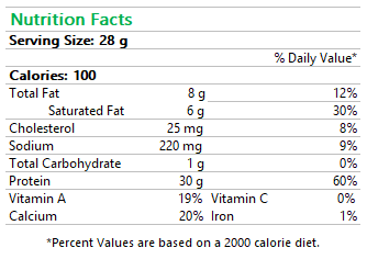 Raclette Nutrition Facts