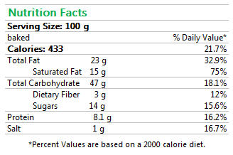 Ready-to-bake Chocolate Croissants Nutrition Facts