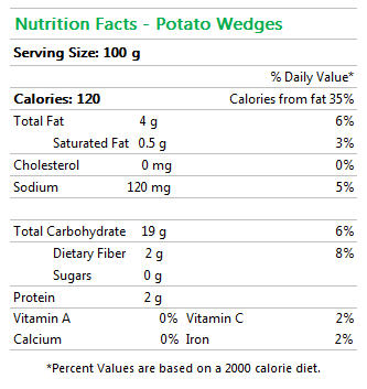 Potato Wedges Nutrition Facts
