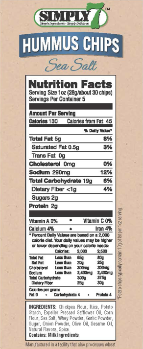 Sea Salt Hummus Chips Nutrition Facts
