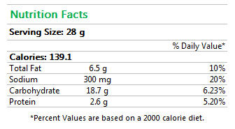 Sesame Chia Flax Crackers Nutrition Facts