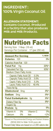 Virgin Coconut Oil Expeller Pressed Nutrition Facts