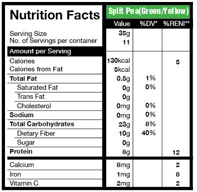Yellow Split Peas Nutrition Facts