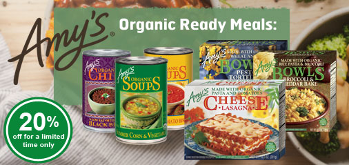 Best Selling Amy's Organic Ready-Meals at 20% OFF for a limited time!