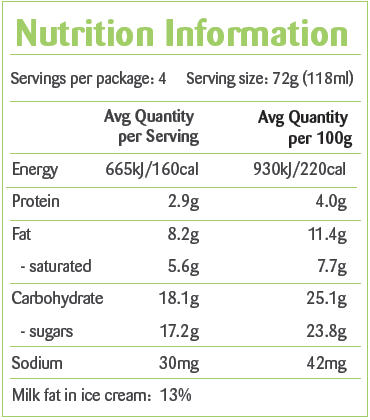 New Zealand Natural Chocolate Ecstasy Ice Cream 100 ml Nutrition Facts