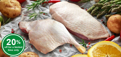Limited Time Offer: Duck Leg and Breast from at 20% OFF for a limited time only!