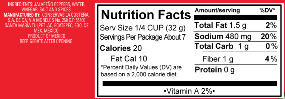 Pickled Jalapeno Nacho Slices Nutrition Facts