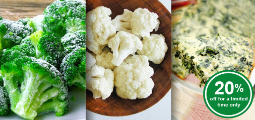 Get 20% OFF Broccoli, Cauliflower & Spinach for a limited time only!